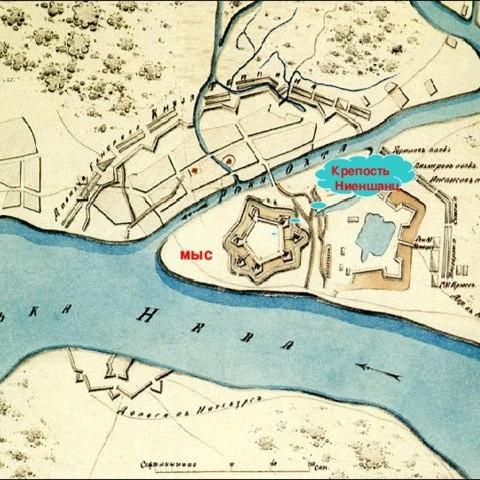 """Карта """"НИЕНШАНЦ"""". Возможно петровского времени 1704 г."""