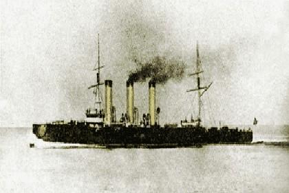 Крейсер «Аврора» в боевой окраске, 1904-1905 годы