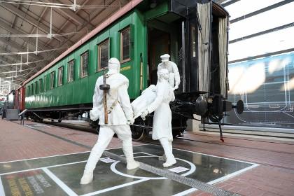 Экспозиция музея железных дорог России в СПб