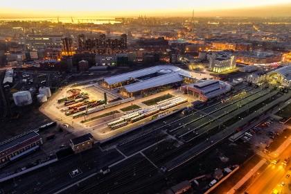 Вид сверху на музей железных дорог России