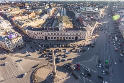 Вид сверху на обелиск «Городу-Герою Ленинграду» в СПб
