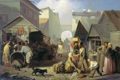 Волков Адриан Маркович. Обжорный ряд в Санкт-Петербурге. 1858 г.
