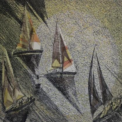 Фонд Сосновоборского художественного музея современного искусства .Картина «На повороте» В.А. Ковалева, 1991 год