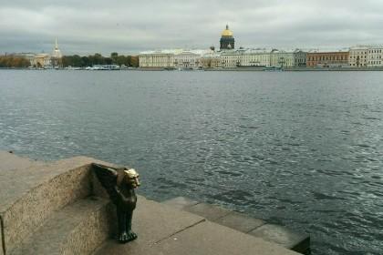 Грифоны на Университетской набережной в СПб